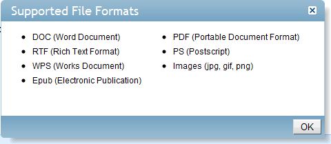 Lulu supported file formats