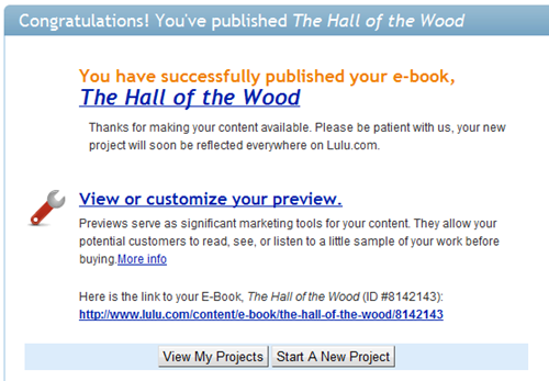 The Hall of the Wood, published on Lulu