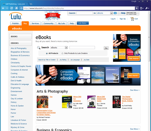 The Lulu.com eBooks storefront